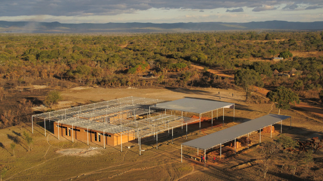 Aerial image of school in middle of African savanna in the village of Mwabwindo