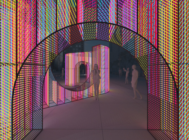 a rendering of a multi-colored art installation located in a public plaza in new york city