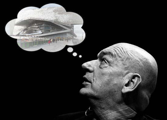 Image of Jean Nouvel's profile looking at thought bubble of his design