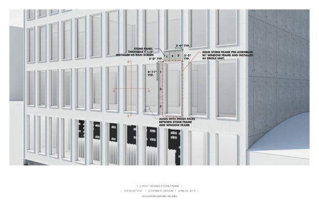 Exterior diagram of windows on the towering Pace Gallery