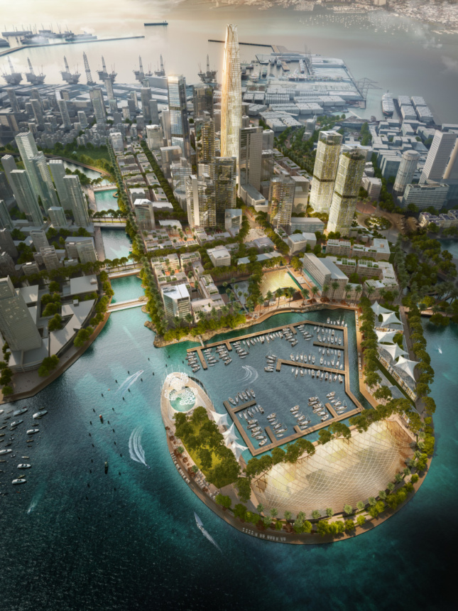 Aerial rendering of a cove development, for the Belt and Road