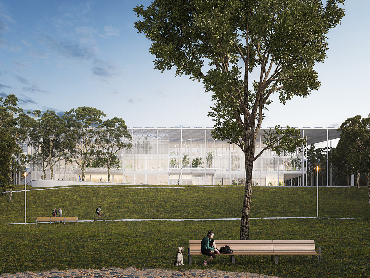Rendering of airy building with flat canopy roof in a park for Houston Endowment