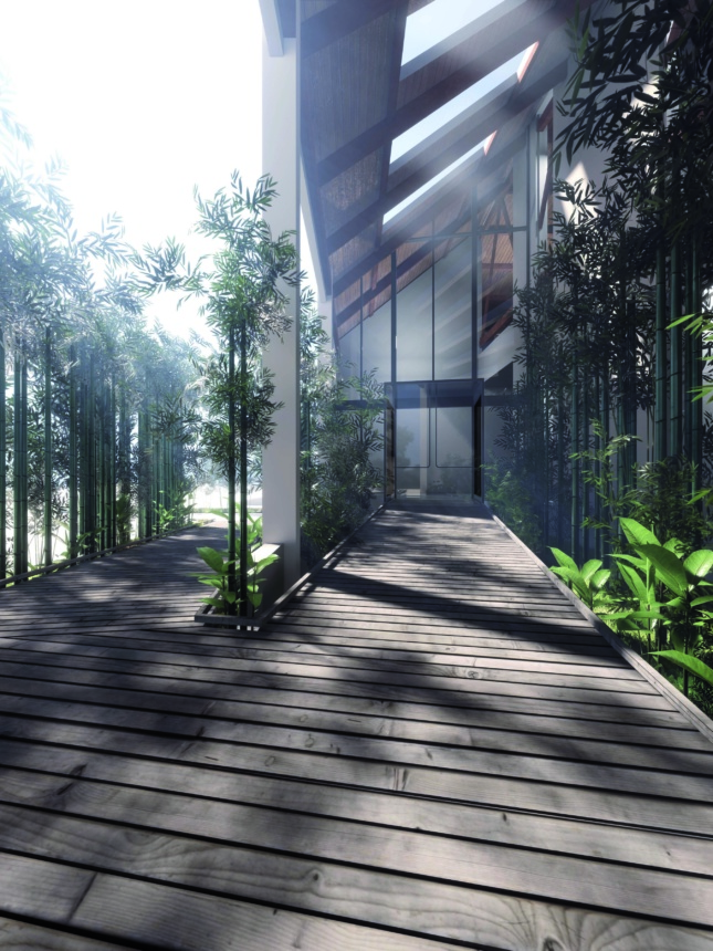 A rendering shows an entrance into a building with a wood ramp surrounded by greenery. Through a glass wall you can see inside the building with skylights letting the sun shine through into the space.