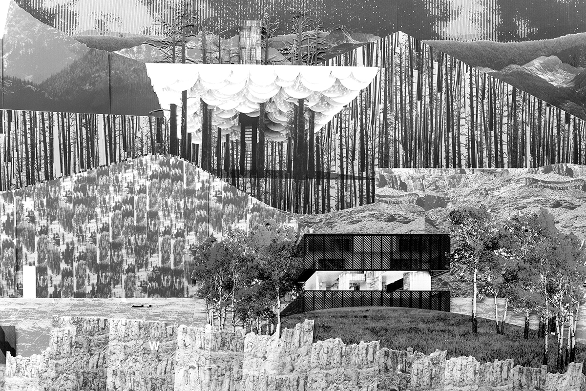 Building set in a collaged landscape