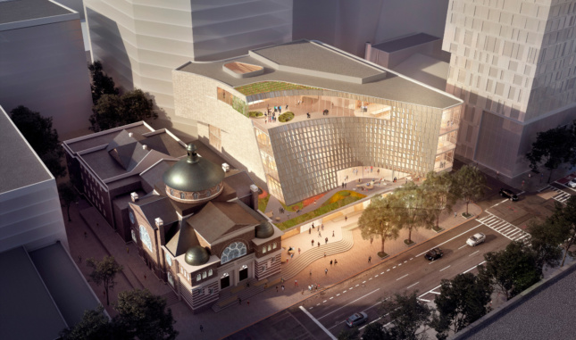 Aerial rendering of the new Charlotte Library, with inward curves