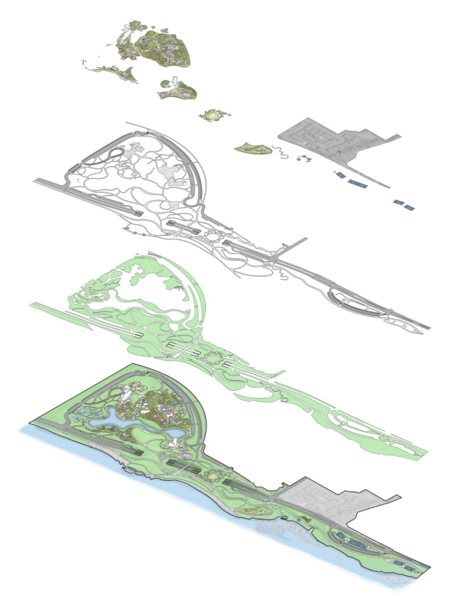 Exploded axonometric drawing of a park, the Gathering Place