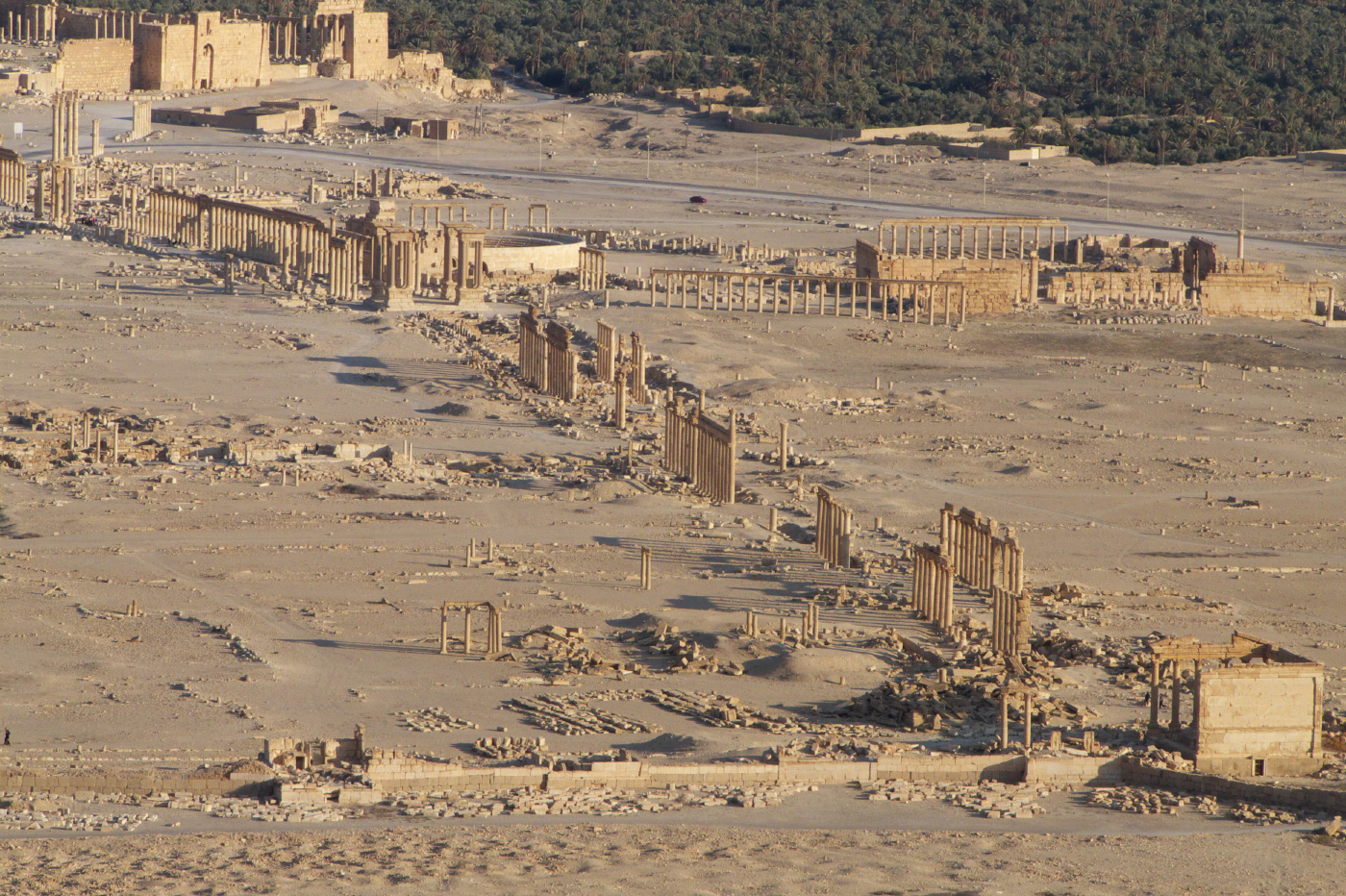 Monumental ruins show the city of Palmyra