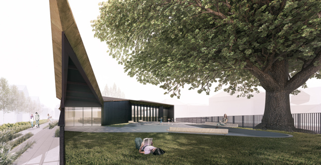 a digital rendering of the exterior of a library