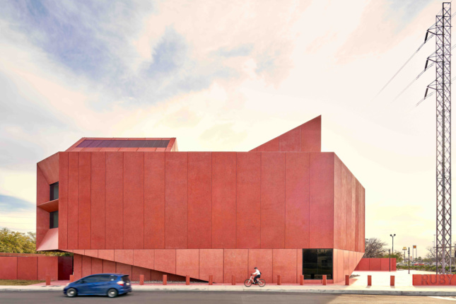 A low-slung, angular red building