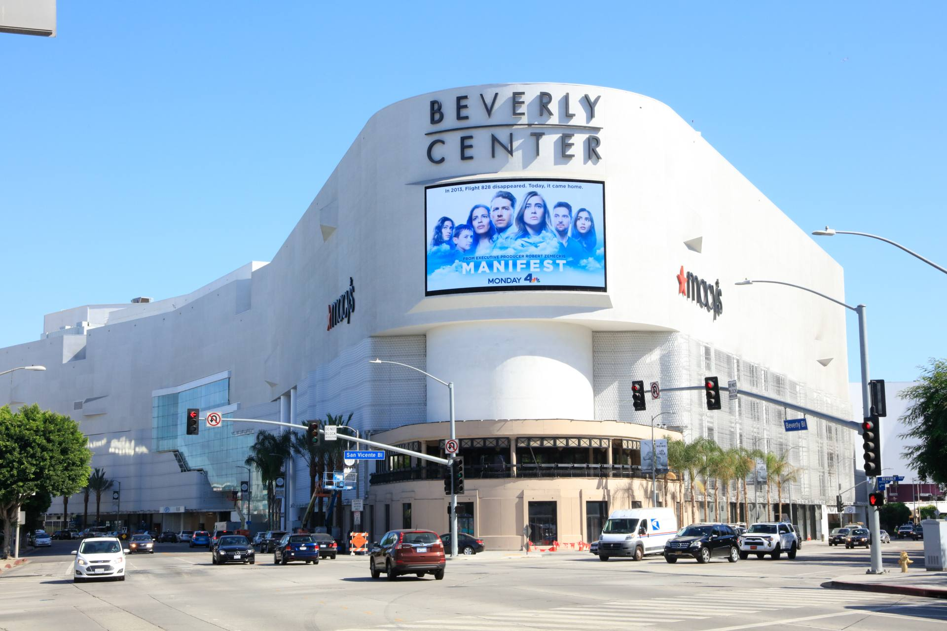 Photo of a white mall with a Beverly Center sign on top