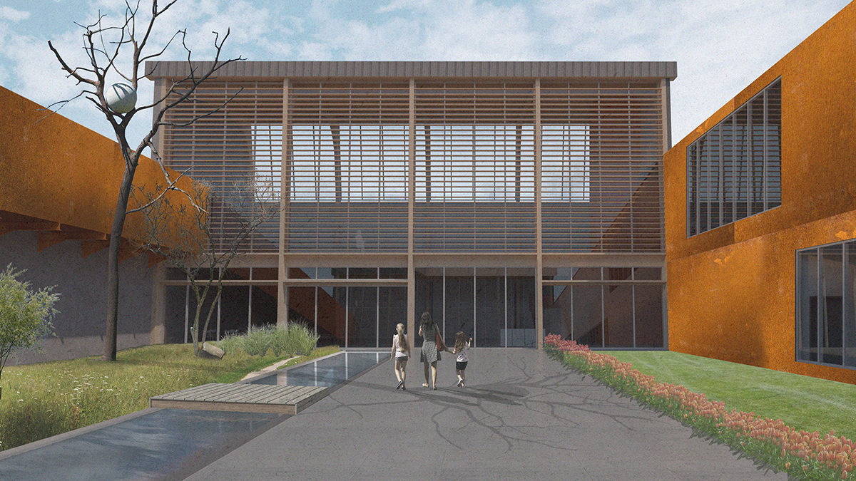 Rendering of building with courtyard, student work that shows timber louvers