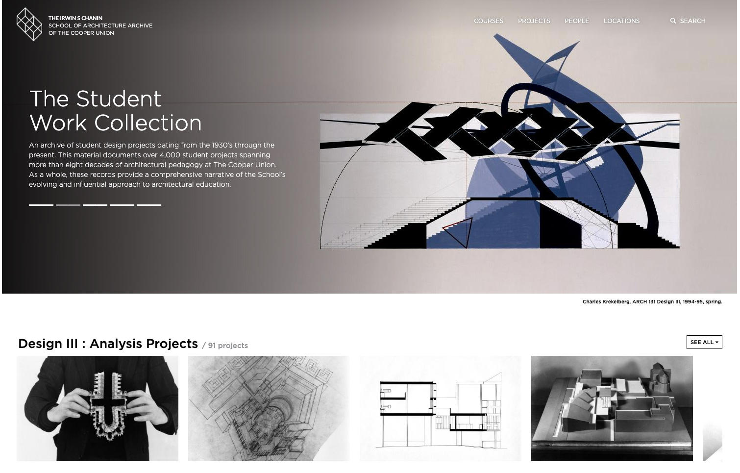 A screenshot of the landing page for the cooper union's new student work collection database.