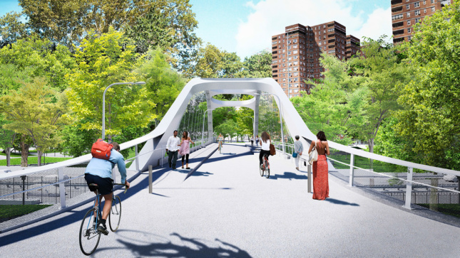 Rendering of a bridge over the East Side Coastal Resiliency park