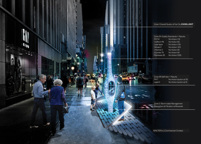 Rendering of a street with a holographic pole