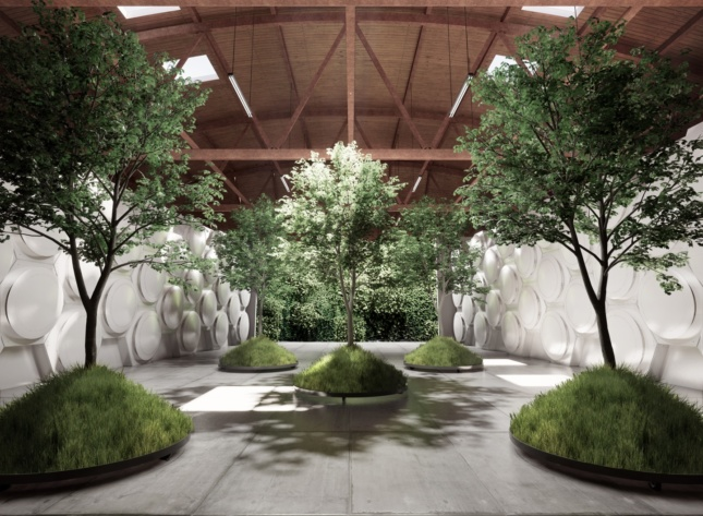 A rendering of a room consisting of concrete floors, an arched wooden ceiling, hexagonal patterned walls and five trees planted on mounds.