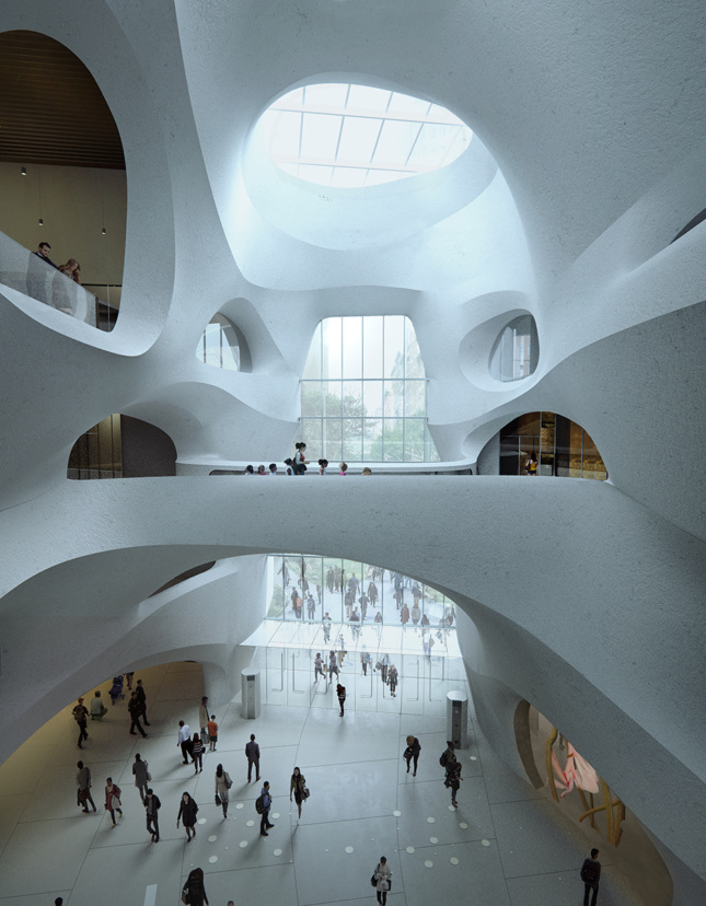 Multistory interior with white, curved walls and skylight