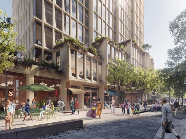 Day-time rendering of ground-level outdoor plaza by terraced office building