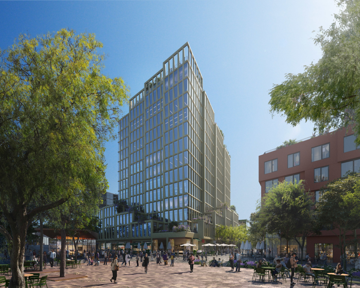 Rendering of staggered office tower and urban plaza