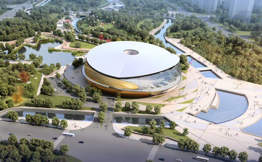 Rendering of bowl-shaped stadium in park