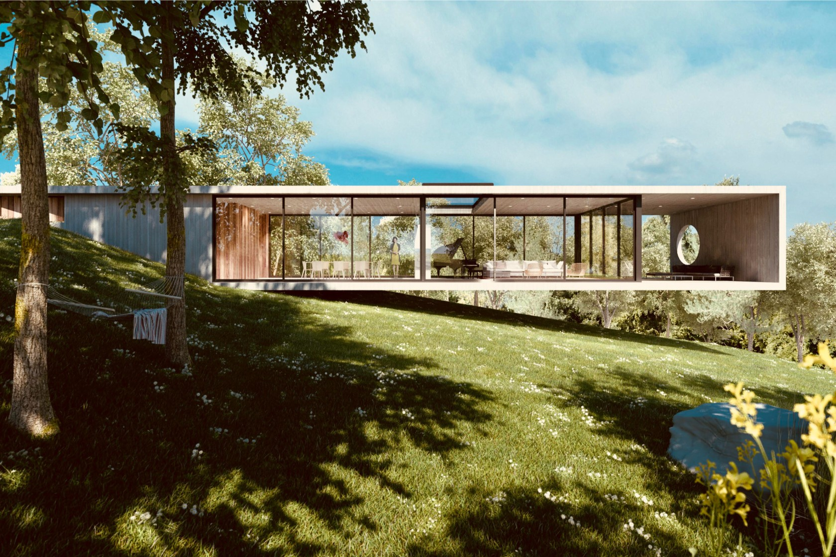 Rendering of a cantilevering modernist home over a hill in Walden Monterey