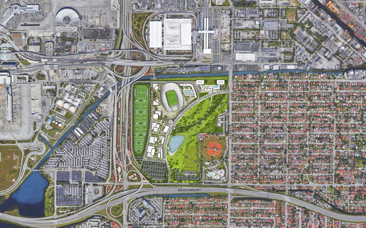 Aerial of site plan for Freedom Park in Miami