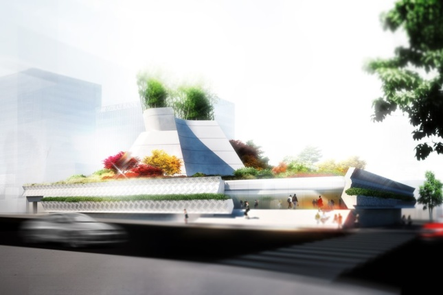 Rendering of a low-slung Los Angeles museum with plants on top
