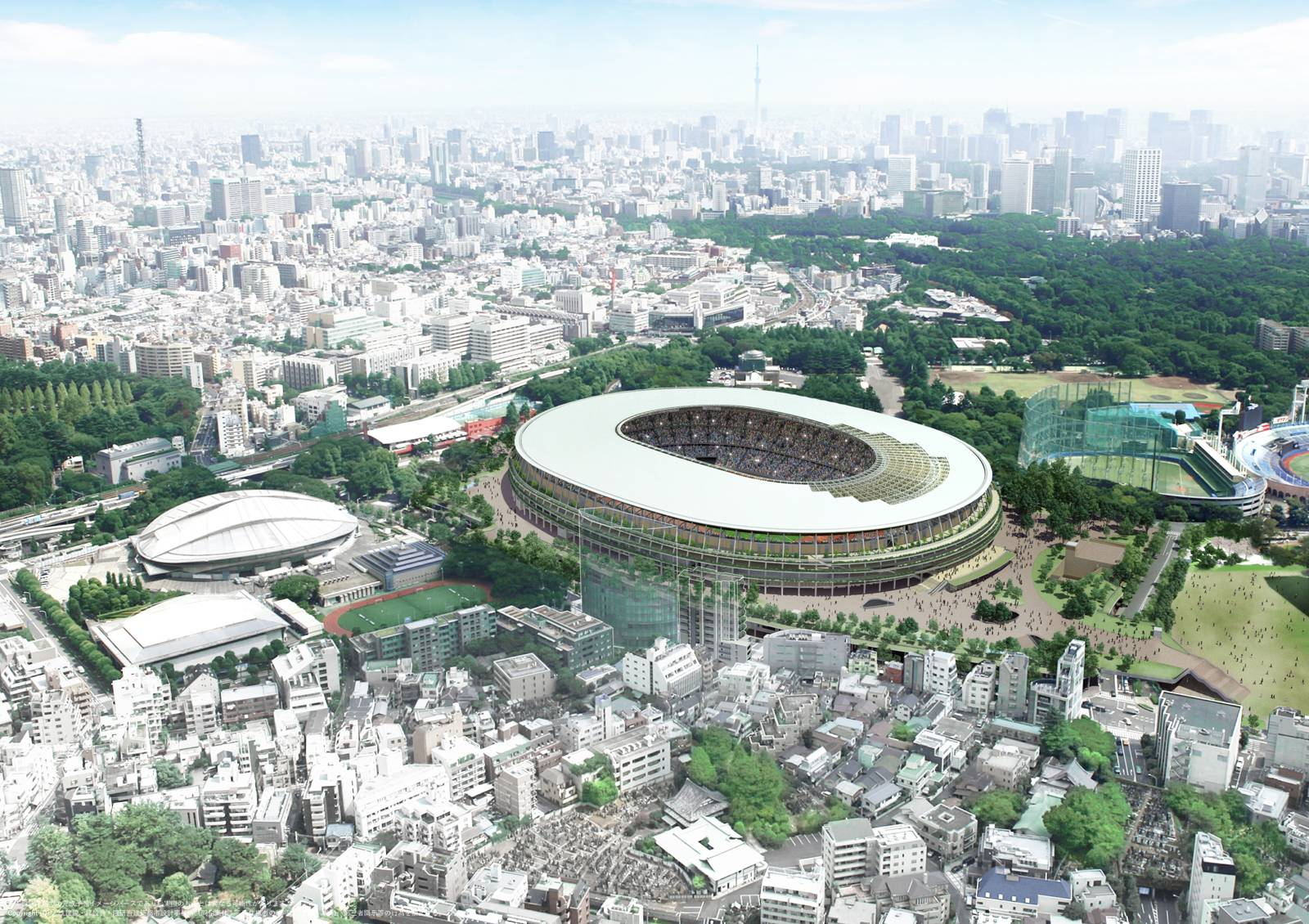 Aerial rendering of the National Stadium in Tokyo, surrounded by low-rise buildings