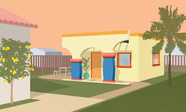 Rendering of a small yellow house