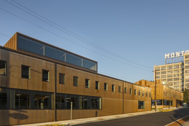 Exterior of commercial building clad in corrugated steel