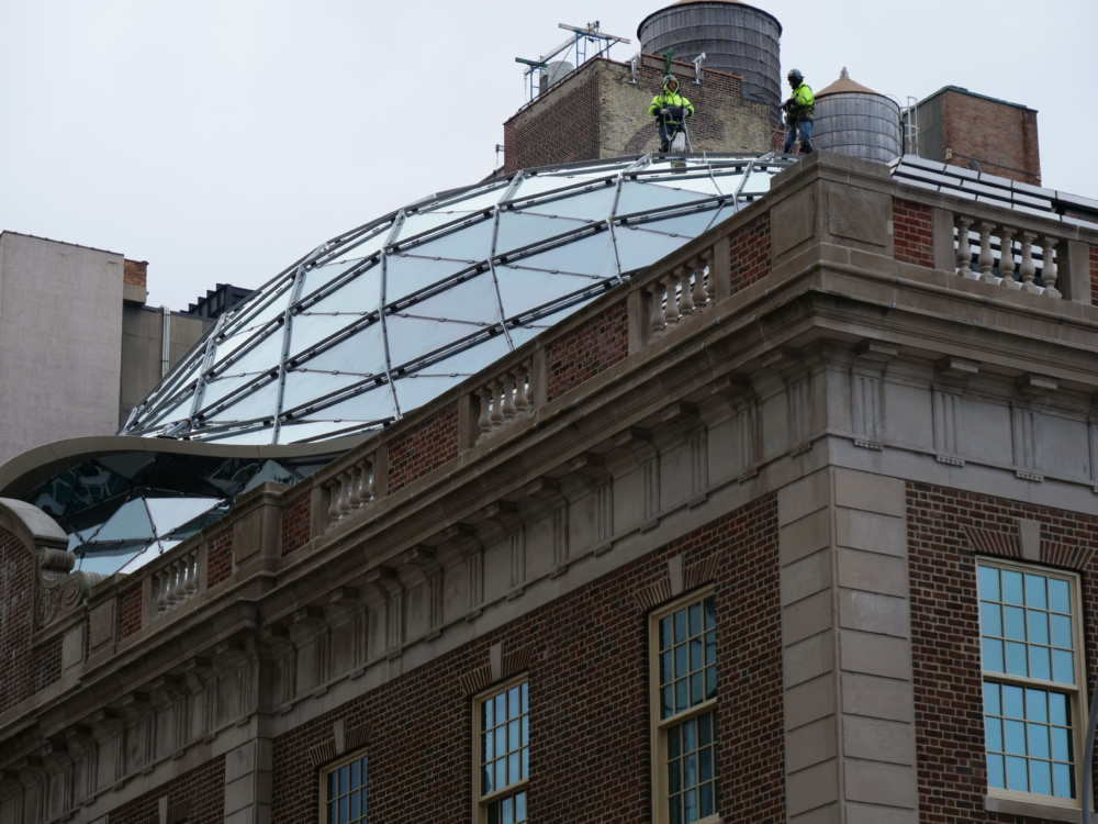 North elevation of the Tammany Hall facade with glass dome