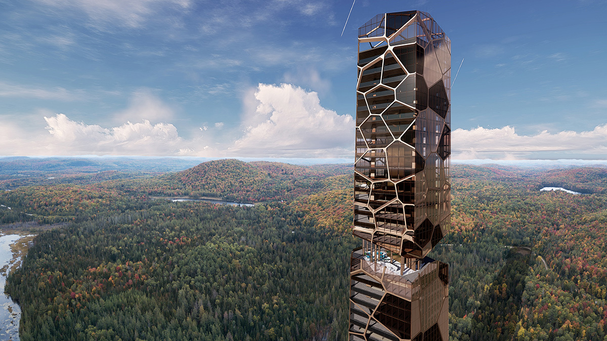 Aerial rendering of earthy-toned luxury tower in the middle of a forest from Mu Architecture