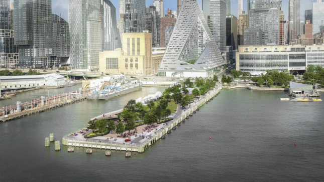 Rendering of a pier jutting out into the Hudson River