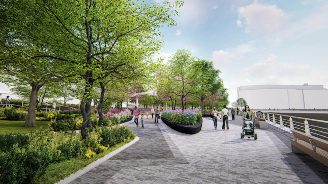 Rendering of Pier 97 and its converted parkland