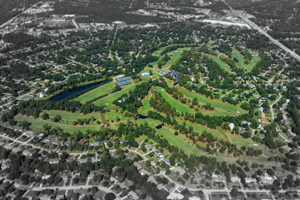 Aerial image of golf course