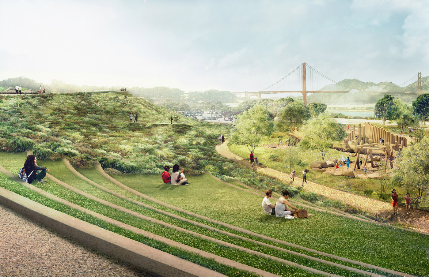 Rendering of the Presidio with tiered steps looking out to the bridge