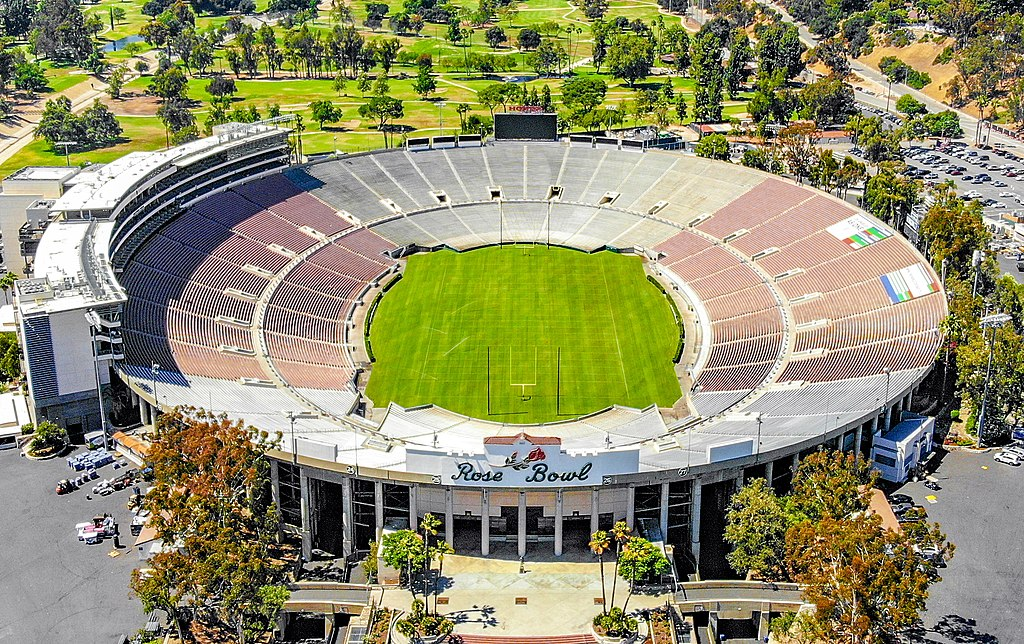 Aerial image of grass-field outdoor stadium in a park; Rose Bowl Stadium