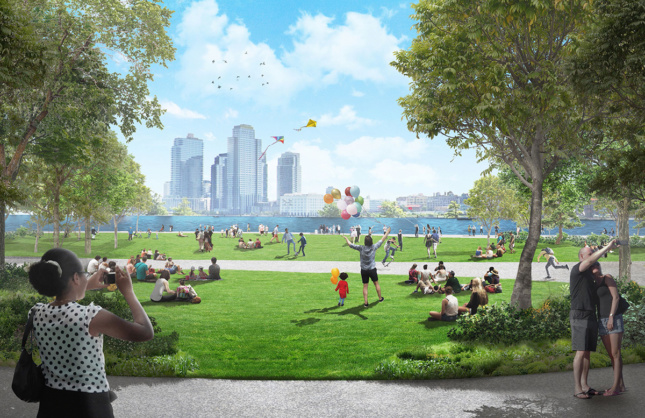 Rendering of a raised riverfront park