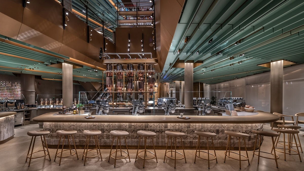 Interior photo of Starbucks bar with a central atrium void