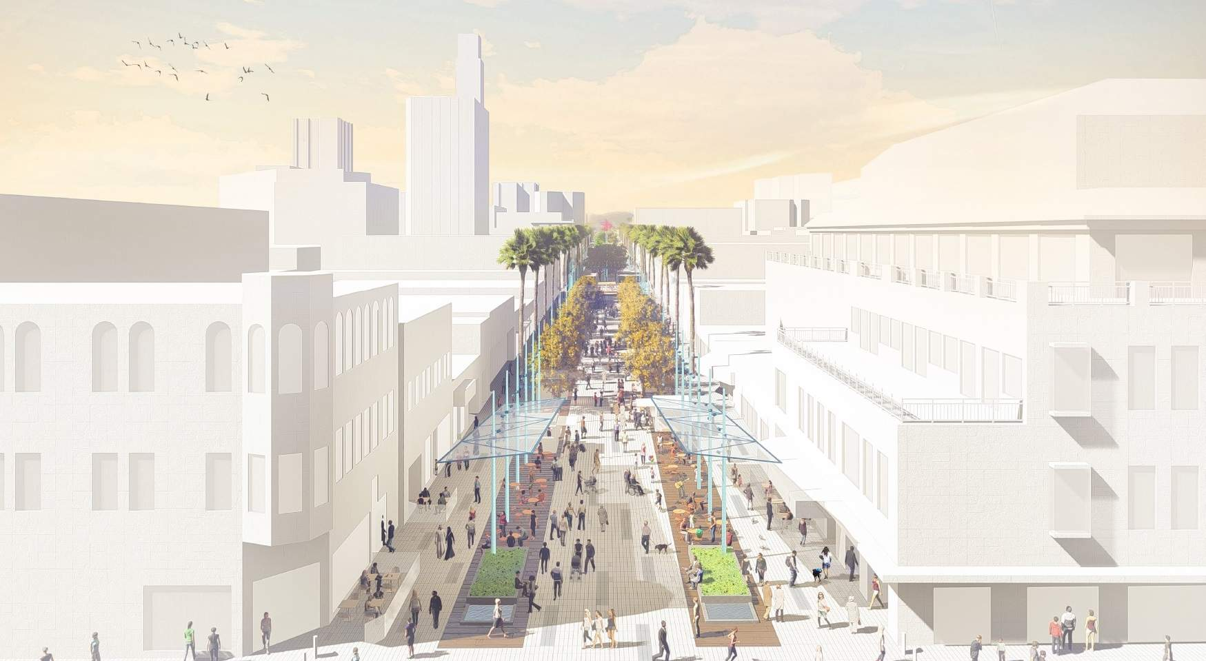 Rendering of a busy third street promenade