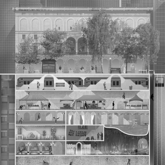 Black and white rendering of building section