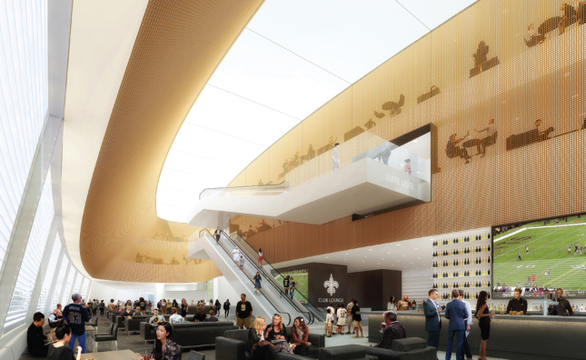 Interior rendering of a bar space and lounge in a stadium