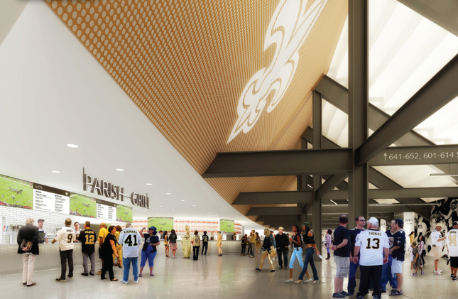 Interior rendering of food hall inside the Superdome