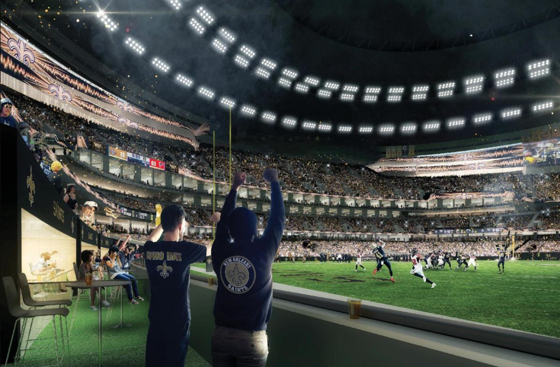 Rendering of sports fans cheering in a suite next to field in the Superdome