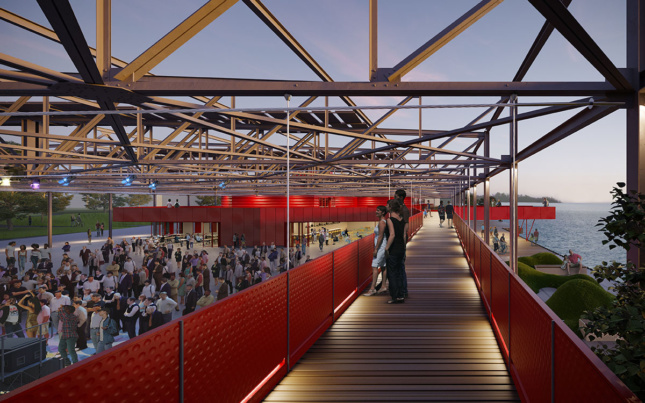 Outdoor venue with red partition walls and overhead beams