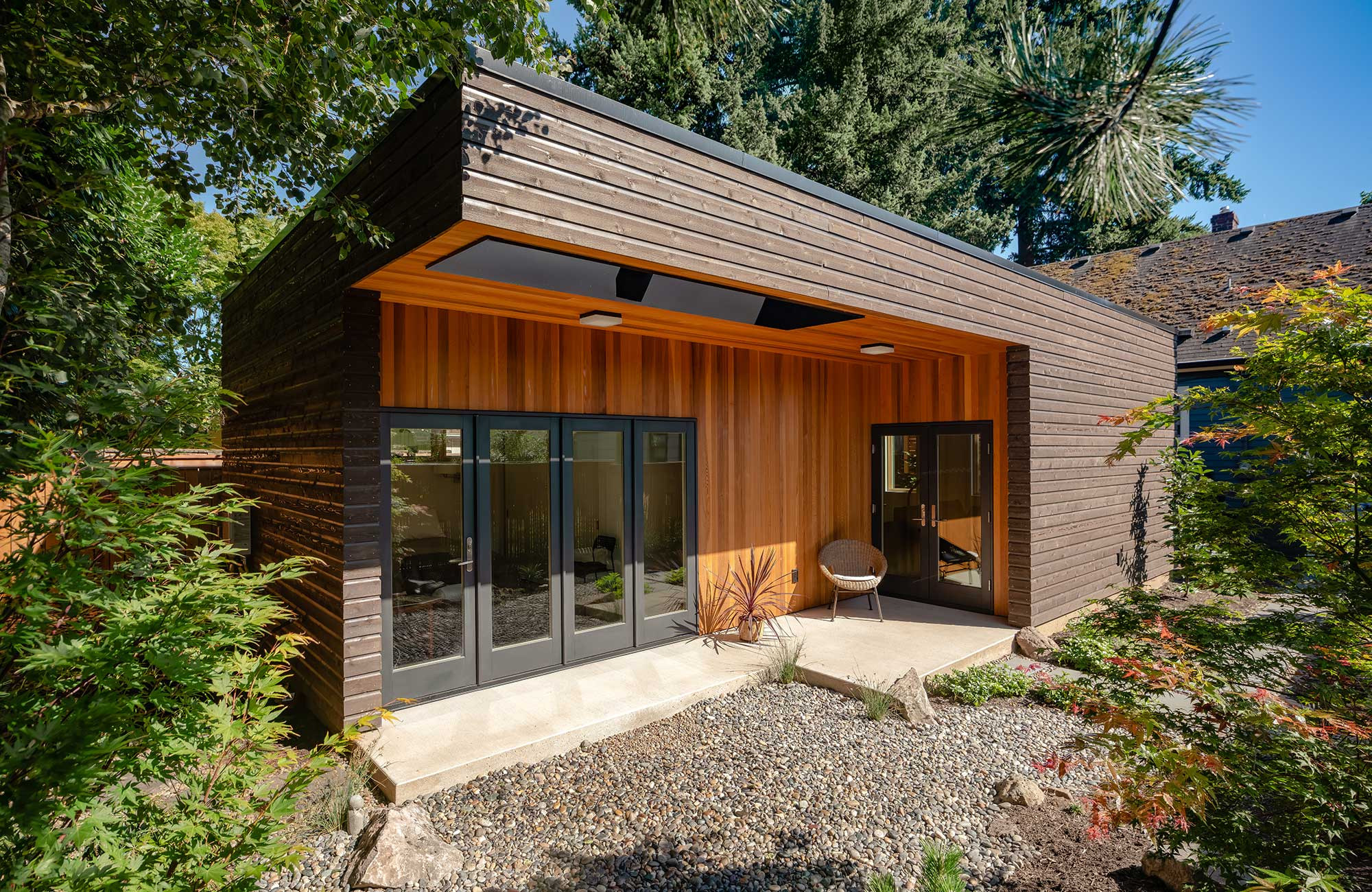 An ADU tiny home in portland with a timber cantilever, presented at the 2019 Build Small Live Large conference