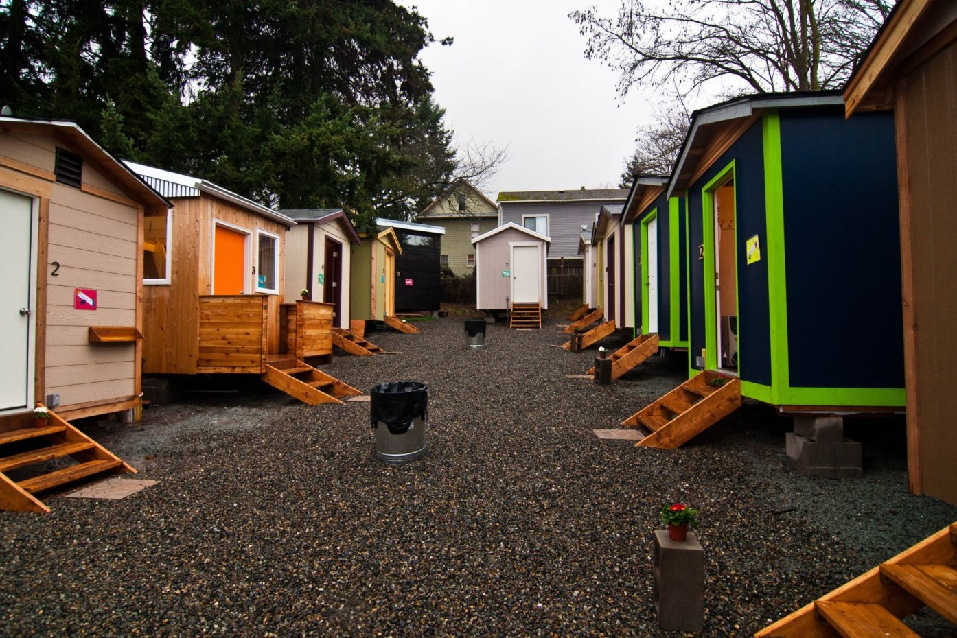 Photo of a tiny house village in Seattle