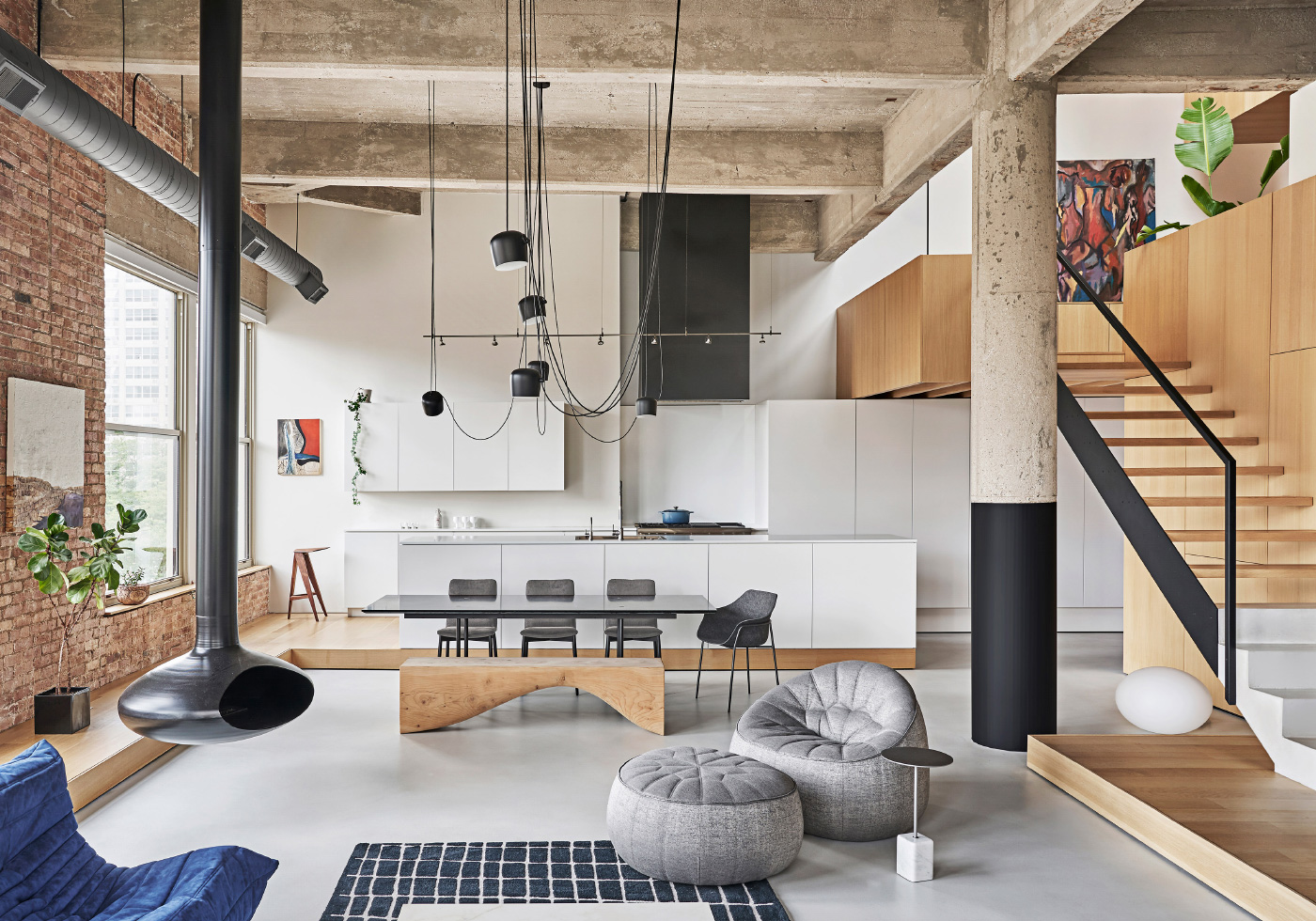 Interior photo of a concrete and timber apartment