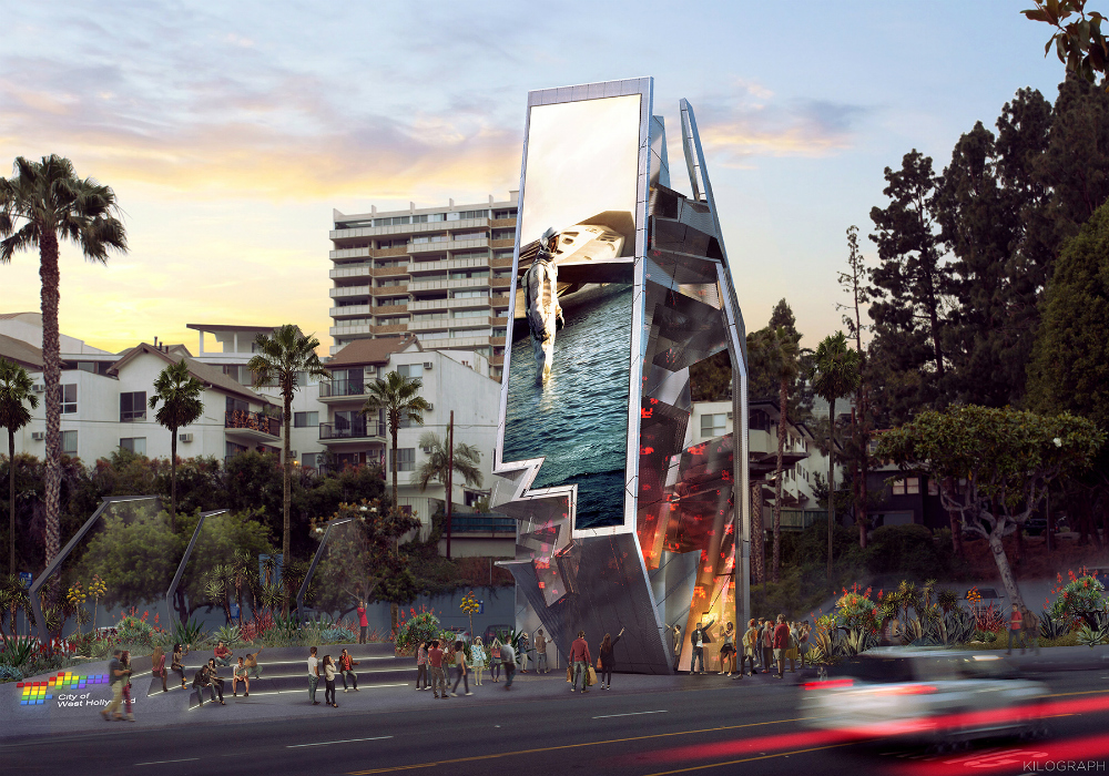 Rendering of a tall digital billboard in Los Angeles