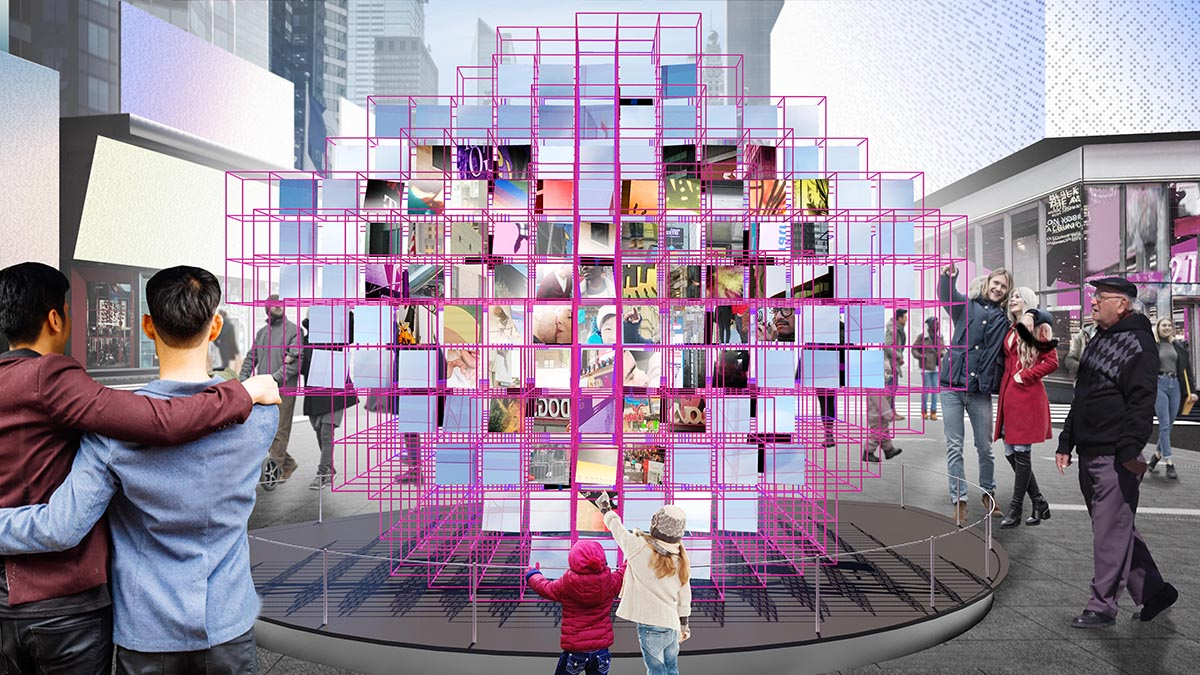 A rendering of two children in front of a pink frame with various square mirrors reflecting images of Times Square