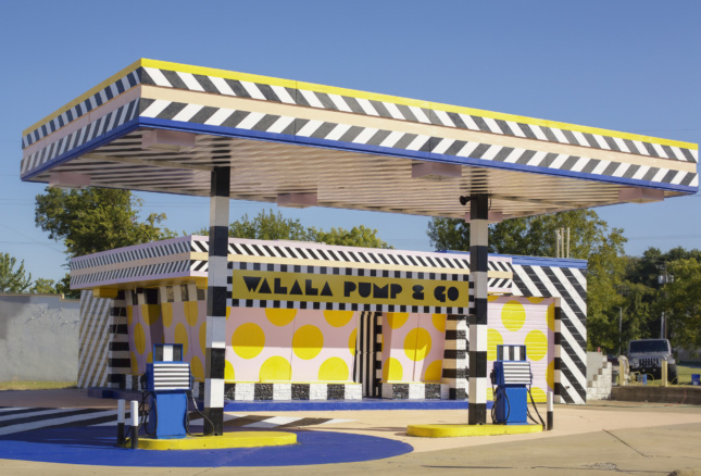 Artist Camille Walala turned a gas station into this pink and yellow public art piece.